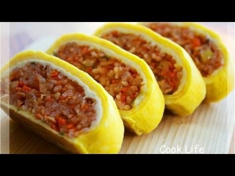 Video Clip: Cách làm món Cơm trộn Hàn Quốc cuộn trứng