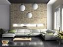 Trang trí tường phòng khách bằng đá