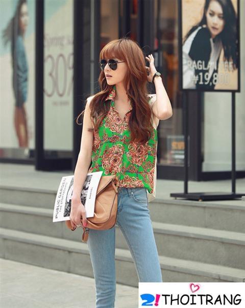 Mặc đẹp với quần jean và áo sơ mi cực trẻ trung theo xu hướng thời trang 2013