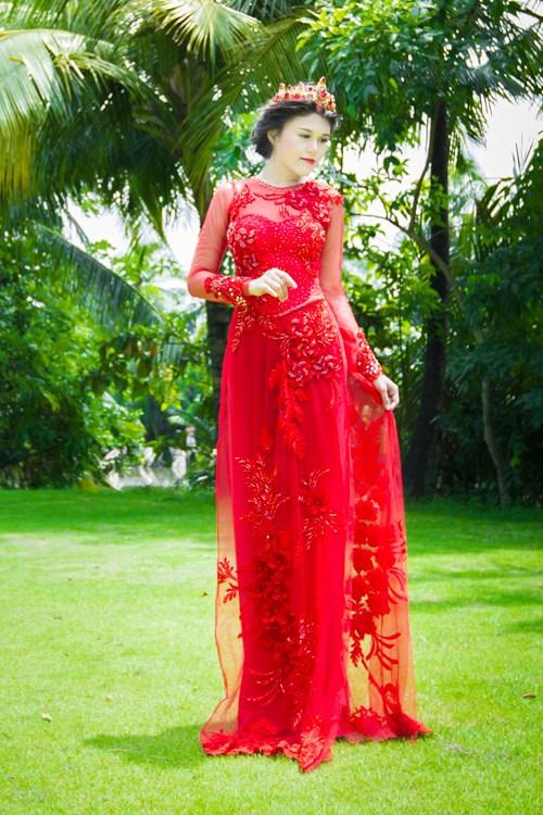 Các kiểu áo dài cưới đẹp kiêu sa