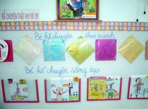 rong lớp học không thể thiếu những góc chơi của bé, để lớp học thêm lôi cuốn trẻ các cô giáo chúng ta phải tạo nên một môi trường lớp học với những màu sắc
